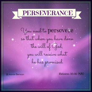 Hebrews 10.36 niv PERSEVERANCE 2016