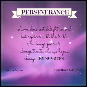 I Corinthians 13. 6 7 niv PERSEVERANCE 2016
